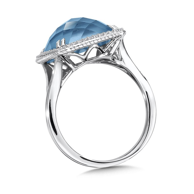 Colore Sg Turquoise Fusion and Diamond Ring in 14K White Gold