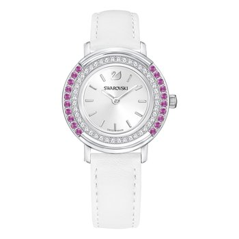 Playful Lady Watch, Leather strap, White, Silver tone