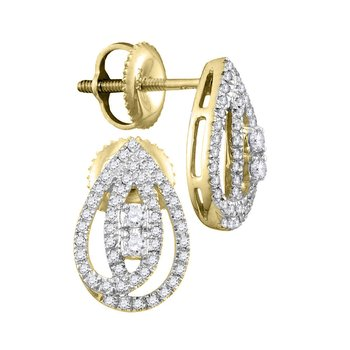 10kt Yellow Gold Womens Round Diamond 2-stone Teardrop Stud Earrings 1/4 Cttw