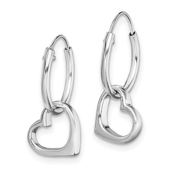 Sterling Silver Rhodium-plated Heart Hoop Earring