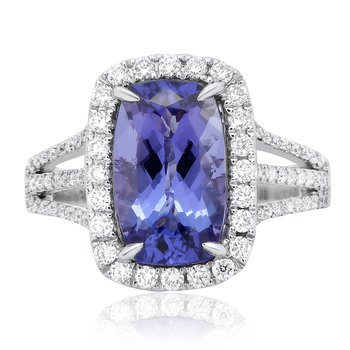 Cathedral Set Tanzanite & Diamond Ring