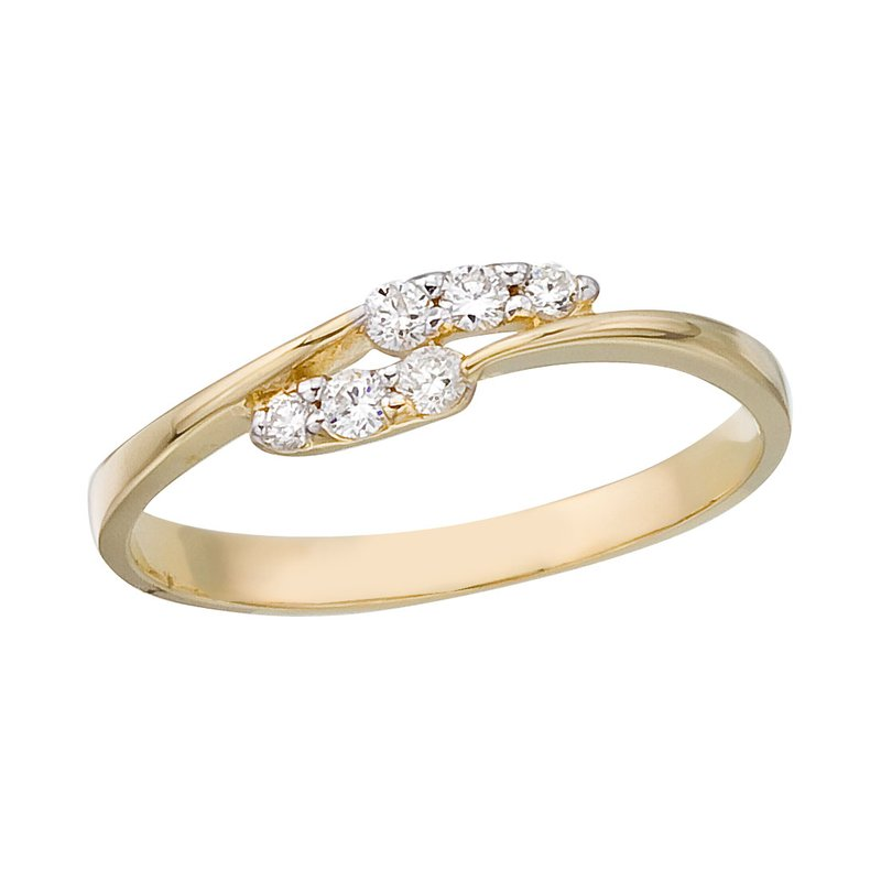Color Merchants 14K Yellow Gold and Diamond Promise Ring