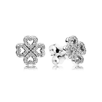 Petals of Love Stud Earrings, Clear CZ