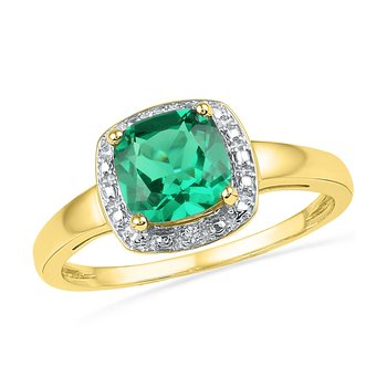 10kt Yellow Gold Womens Princess Lab-Created Emerald Solitaire Diamond Ring 1-3/4 Cttw