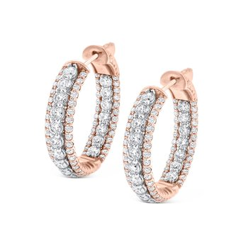 14K Diamond Inside Out Hoops