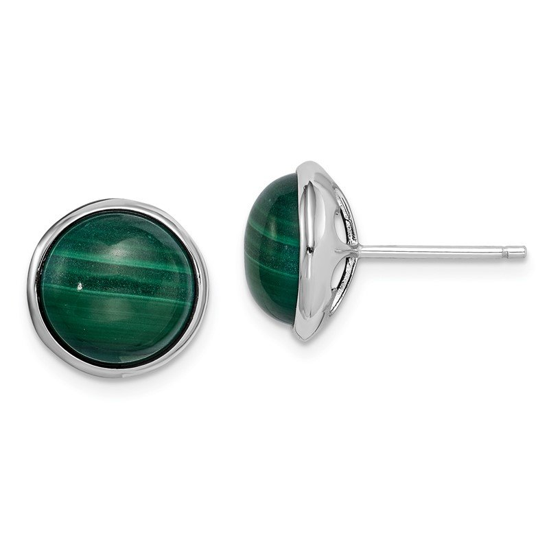 Quality Gold Sterling Silver Rhodium-plated 10mm Malachite Cabochon Post Earrings
