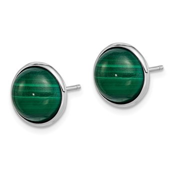 Sterling Silver Rhodium-plated 10mm Malachite Cabochon Post Earrings