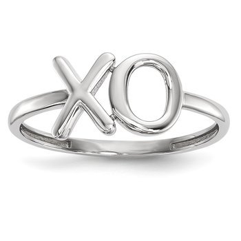 14k White Gold Polished X-O Ring