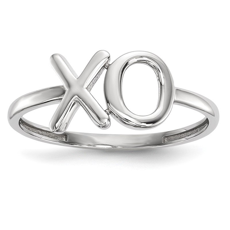 Quality Gold 14k White Gold Polished X-O Ring