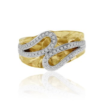 14k Yellow Gold Brushed Diamond Ring
