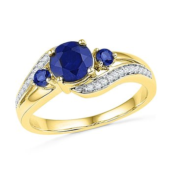 10kt Yellow Gold Womens Round Lab-Created Blue Sapphire 3-stone Diamond Ring 1.00 Cttw
