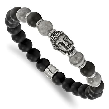 Stainless Steel Antiqued Buddha Black Agate/Grey Jasper Stretch Bracelet