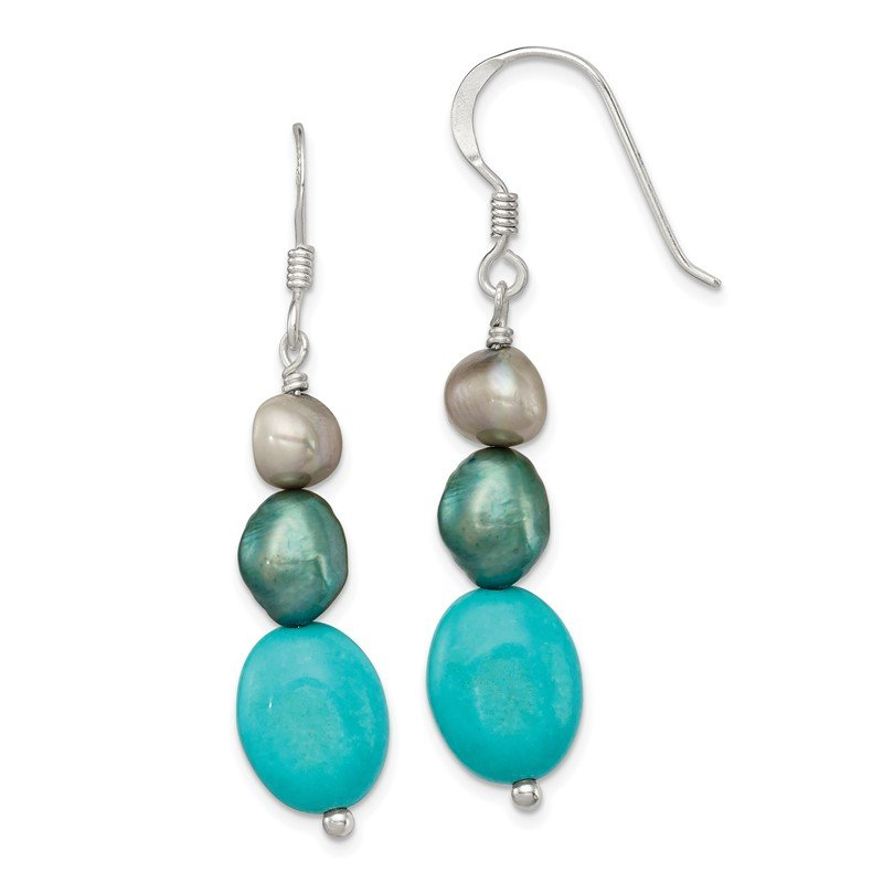 Quality Gold Sterling Silver Green Turquoise/Green FW Cultured Pearl Earrings