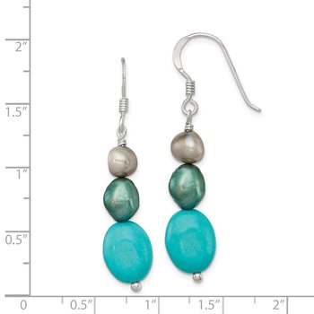 Sterling Silver Green Turquoise/Green FW Cultured Pearl Earrings