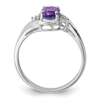 Sterling Silver Rhodium Plated Diamond and Amethyst Oval Ring