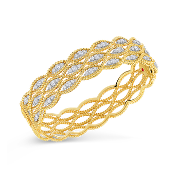 18Kt Gold 3 Row Bangle With Diamonds