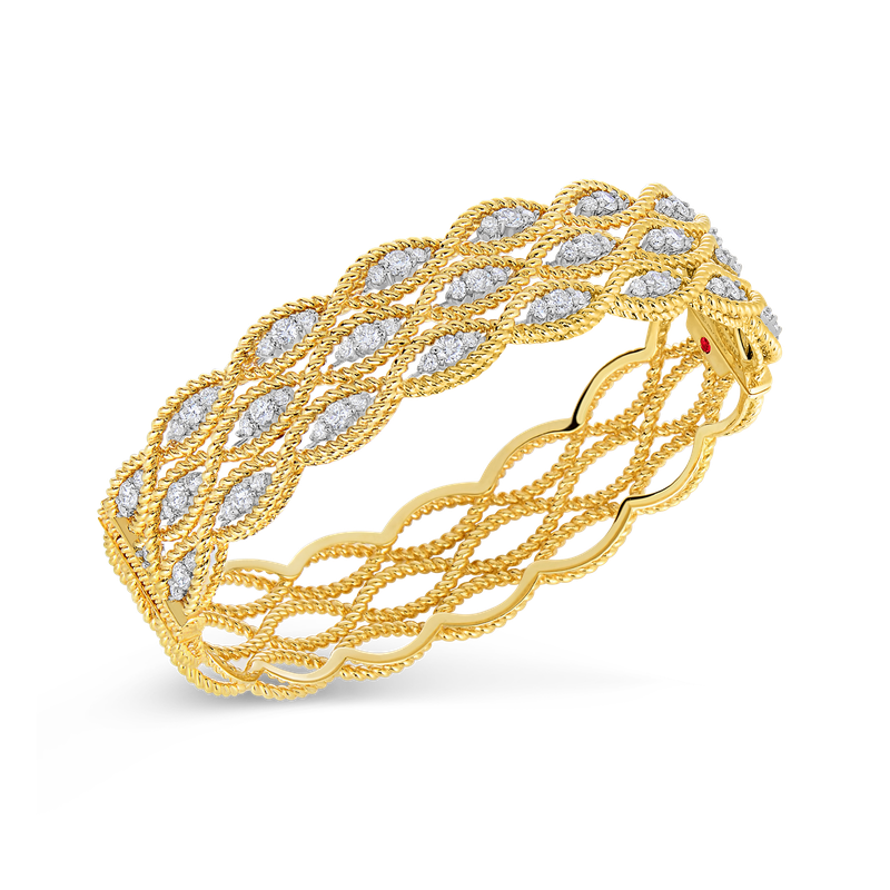 Roberto Coin 18Kt Gold 3 Row Bangle With Diamonds