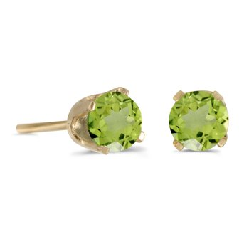 14k Yellow Gold 4 mm Round Peridot Stud Earrings