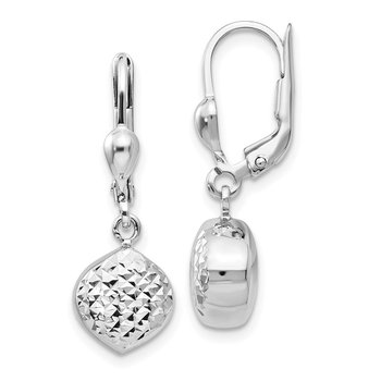 14k White Gold Polished Diamond-Cut Dangle Leverback Earrings