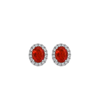 Fire Opal & Diamond Earrings