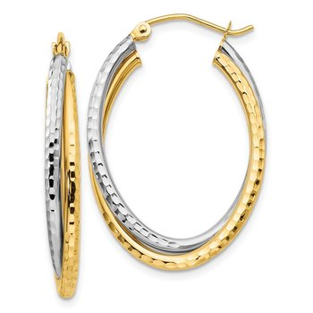 14k Two-tone Diamond-cut Polished Oval Hoop Earring