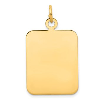 14k Plain Rectangular .018 Gauge Engravable Disc Charm