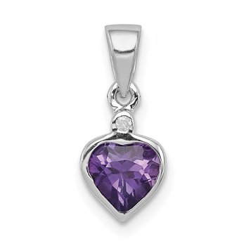 Sterling Silver Rhodium Amethyst Diamond Pendant