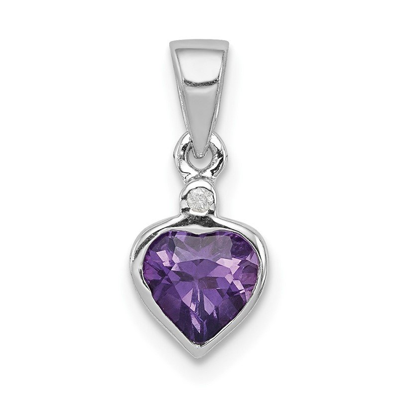 Quality Gold Sterling Silver Rhodium Amethyst Diamond Pendant