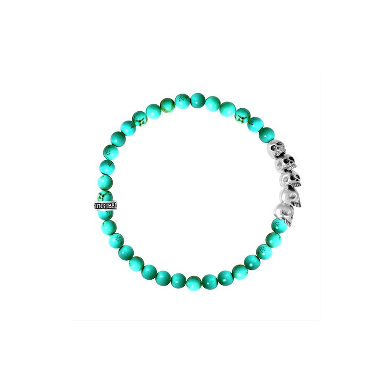King Baby 6Mm Turquoise Bead Bracelet W/ Skull Bridge
