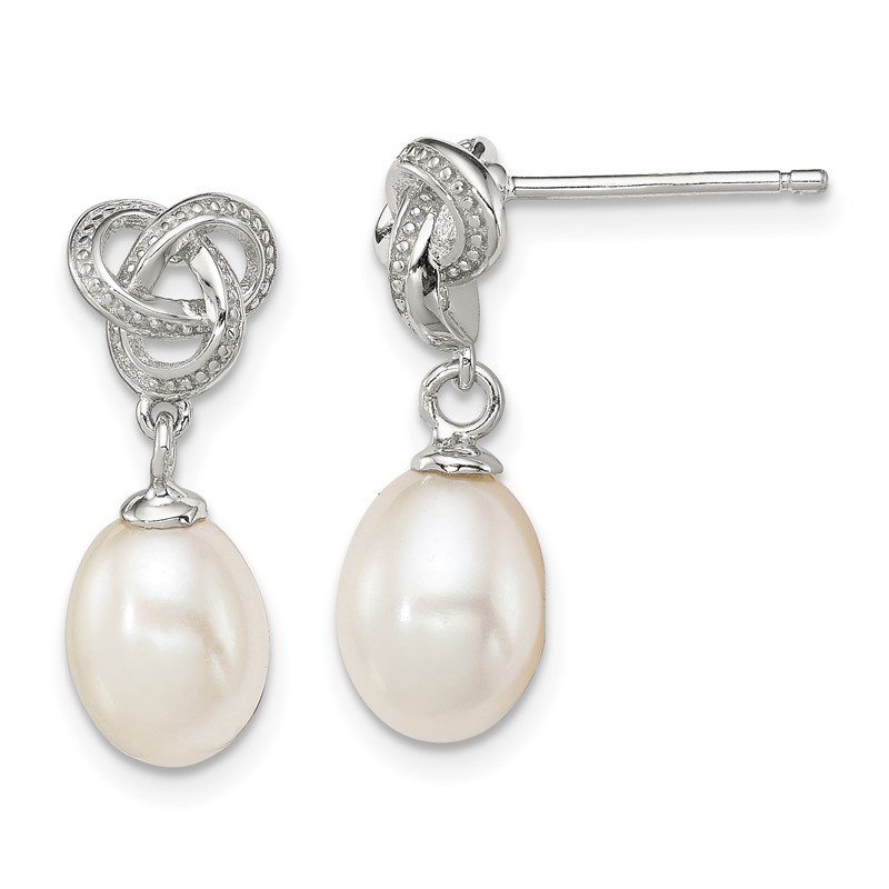 Quality Gold Sterling Silver Rhodium-plated White FW Cultured Pearl Post Earrings