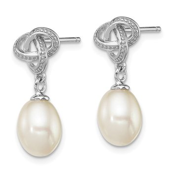 Sterling Silver Rhodium-plated White FW Cultured Pearl Post Earrings