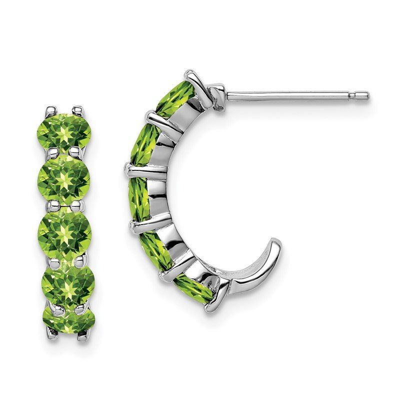 Quality Gold Sterling Silver Rhodium-plated Peridot J-Hoop Earrings