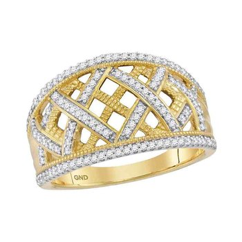 10kt Yellow Gold Womens Round Diamond Lattice Fashion Band Ring 1/3 Cttw