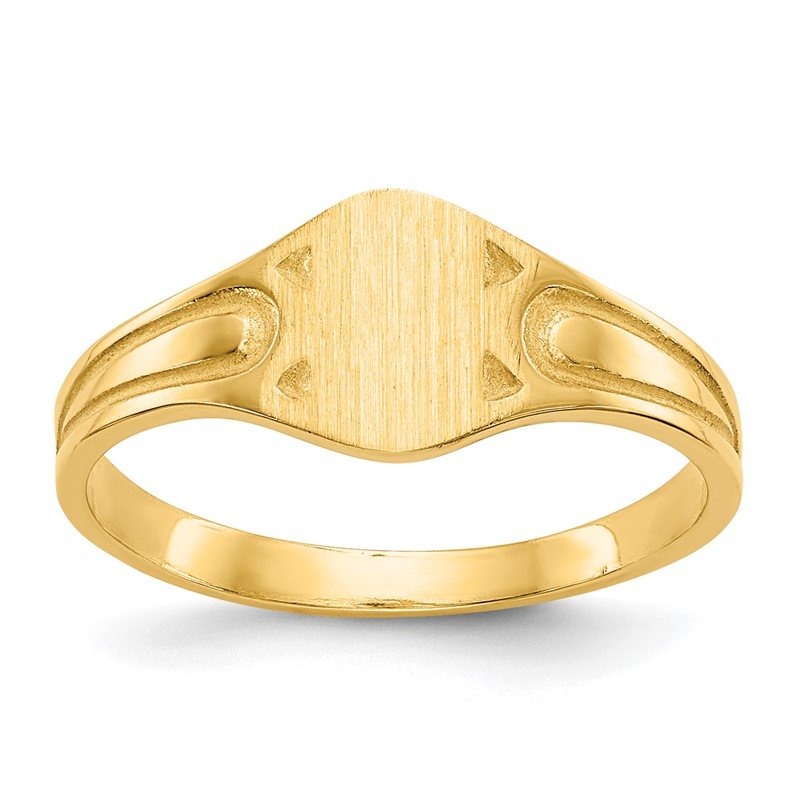 Quality Gold 14k 6.5x4.0mm Closed Back Children's Signet Ring