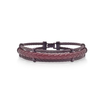 Burgundy Cable & Burgundy Leather Bracelet