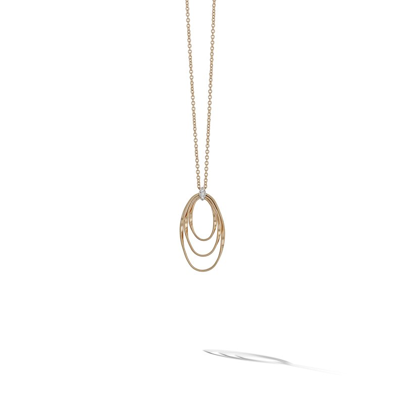 Marco Bicego Marrakech Onde Yellow Gold and Diamond Concentric Small Pendant
