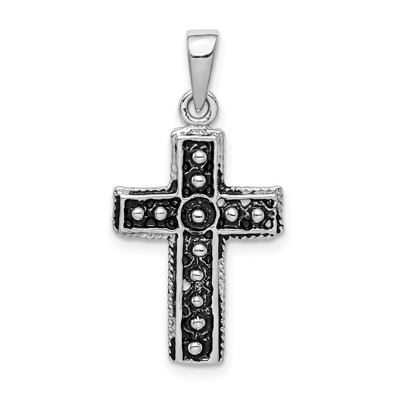 Quality Gold Sterling Silver Rhodium-plated & Antiqued Cross Pendant