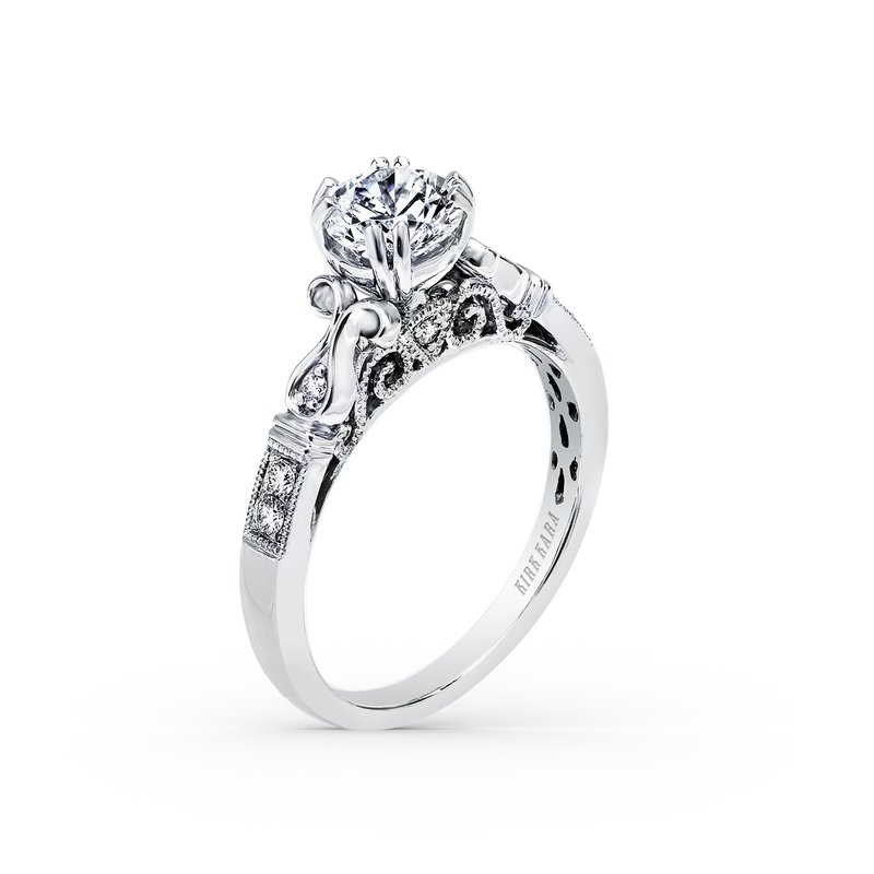 Ribbon Filigree Diamond Engagement Ring