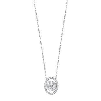 Oval Diamond Halo Pendant in 14K White Gold (1/2 ct. tw.)