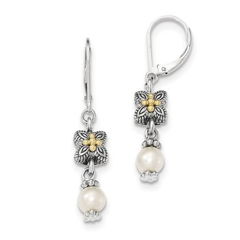 Sterling Silver w/14k White FW Cultured Pearl Dangle Hinged Ear