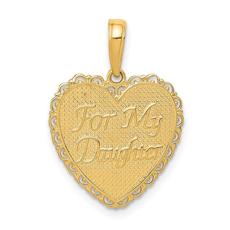 Quality Gold 14k Reversible FOR MY DAUGHTER Heart Pendant