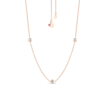 Necklace With 3 Diamond Stations &Ndash; 18K Rose Gold