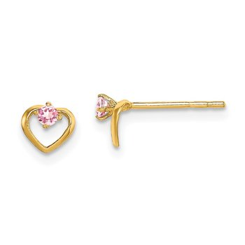 14k Madi K Pink CZ Open Heart Post Earrings
