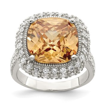 Sterling Silver Champagne & Clear Color CZ Ring