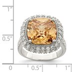 Quality Gold Sterling Silver Champagne & Clear Color CZ Ring
