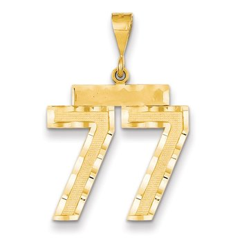 14k Large Diamond-cut Number 77 Charm