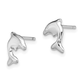Sterling Silver Rhodium-plated Dolphin Stud Earrings