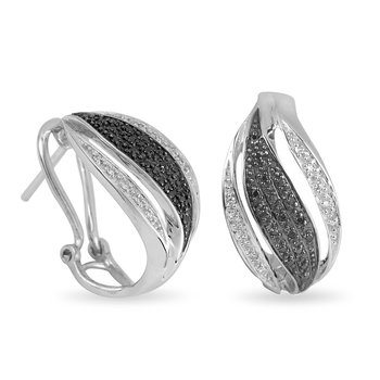 10K WG White and Black Diamond Fashion Earring