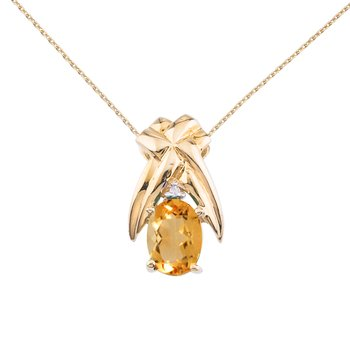14k Yellow Gold 7x5 mm Citrine and Diamond Oval Shaped Pendant