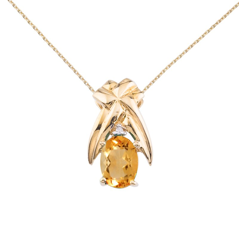 Color Merchants 14k Yellow Gold 7x5 mm Citrine and Diamond Oval Shaped Pendant
